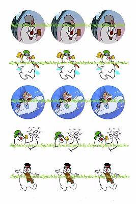 Christmas Frosty The Snowman 1  Circles Bottle Cap Images   2 45  5 50