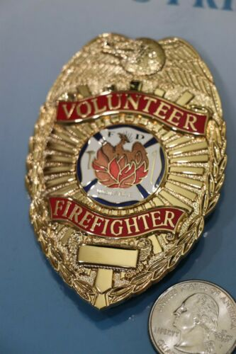 Gold Volunteer Firefighter Metal Badge