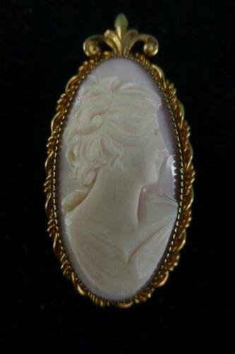 Vintage Gold Filled Carved Shell Cameo Pin Brooch 1/20 12K GF Filigree Danity