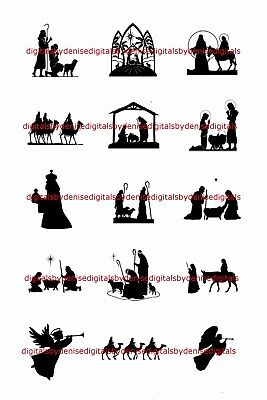 Christmas Nativity 1  Circles  Bottle Cap Images   2 45  5 50   Free Shipping