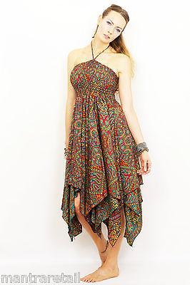 Damen Neu Paisley Taschentuch Saum Kleid Neckholder Hippy Boho Fest