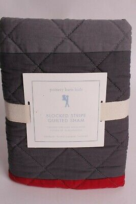 NWT Pottery Barn Kids Block Stripe standard sham, red & gray, quilted *qty avail