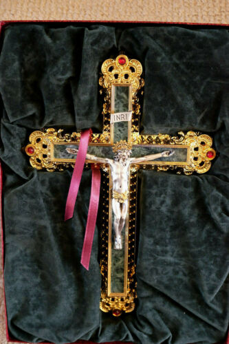 """Franklin Mint """"Treasures of Florence """" Marble and Gold Cross~Factory Box W/COA"""