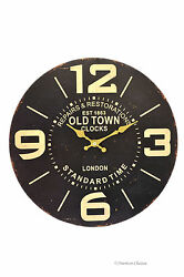 13.25 Large Vintage-Style London Standard Time Old Town Wood Wall Clock