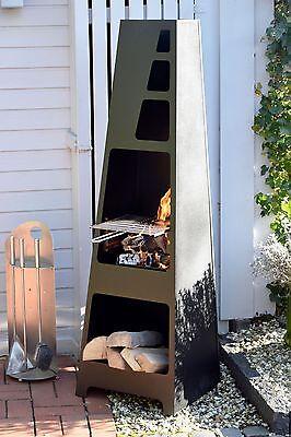 Gartenkamin Terrassenofen Außenkamin mit Grill Feuerstelle Gartengrill schwarz