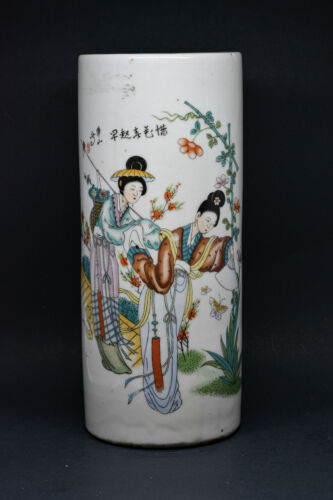 Chinese Antique Porcelain Republic Period Brush Pot - 11 inches tall - Signed -