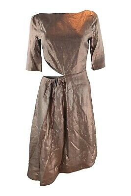 ISA ARFEN Bronze 3/4 Sleeve Cut Out Linen Dress (UK 8)