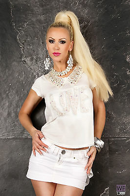 Plissee Strass ( WOW ITALY 2019  SHIRT Spitze Plissee Straß Party TOP Tunika L/XL NEW COLLECTION)