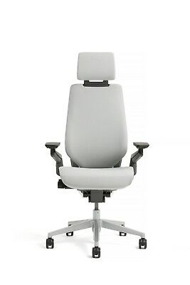 New Steelcase Gesture Chair Adjustable Headrest Wrap Back Light Frame Nickel