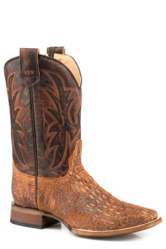Roper, Mens, Cognac, Caiman, Leather, Pierce, Ccs, Cowboy, Boots