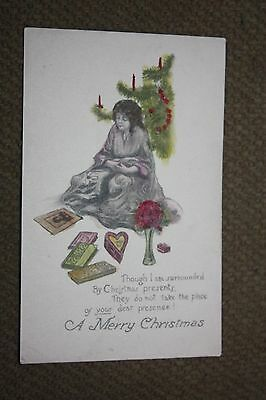 Vintage Postcard A Merry Christmas Poem With Lady Sitting By Christmas Tree (Christmas Tree Poem)