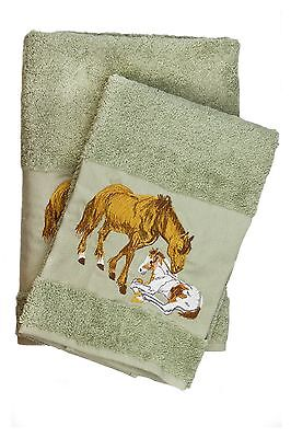 Horses Embroidered Bath And Hand Towel Set Best Quality Turkish Cotton By