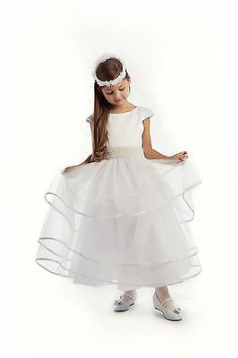 White First Communion Dress Ivory Pearl Beaded Flower Girl Pageant Wedding - First Communion Flower Girl Dresses