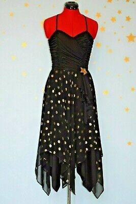 70s 80s  vintage  black and gold  halter neck  gypsy dress - 70s And 80s Clothes