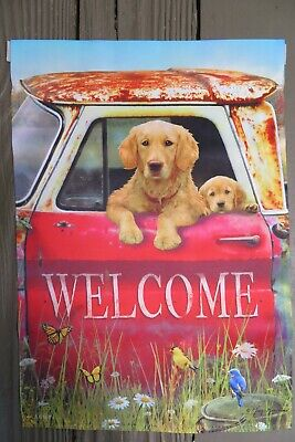 WELCOME Golden Retriever Dog Puppy, Rusty Red Truck, Decorative Garden Flag - $10.25