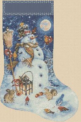 Cross stitch chart  Christmas Stocking Snowman 1 FlowerPower37-UK FREE UK P&P..