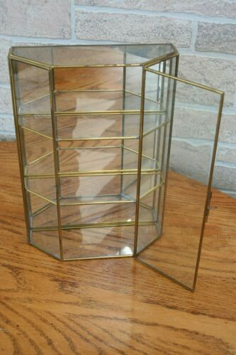 "Vintage Silvestri Glass & Brass W/Mirror Curio Display Cabinet 11"" Tall Mexico"