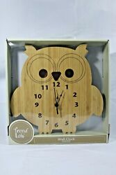 Trend Lab Bamboo Owl Wall Clock Owl Home Decor (Slightly Distressed Package)