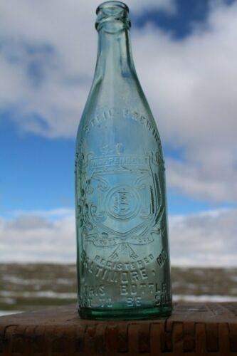 Antique Frank Steil Brewing Co. Baltimore Maryland Aqua Glass Beer Bottle