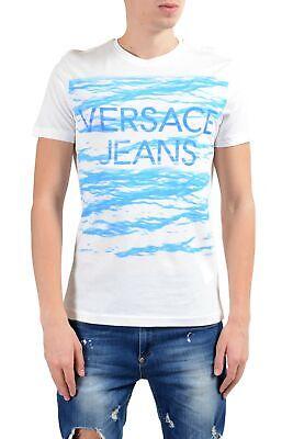 Versace Jeans Men's White Graphic Short Sleeve Crewneck T-Shirt
