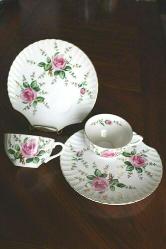 Set of 2  ROSE  Cup/Snack Plate Yamaka China Japan LOVELY