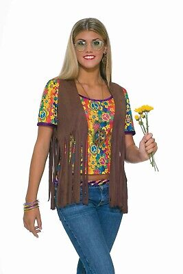 Female Hippie Costume (Sexy Female Hippie Vest Adult Womens Costume Accessory NEW One Size 60s)