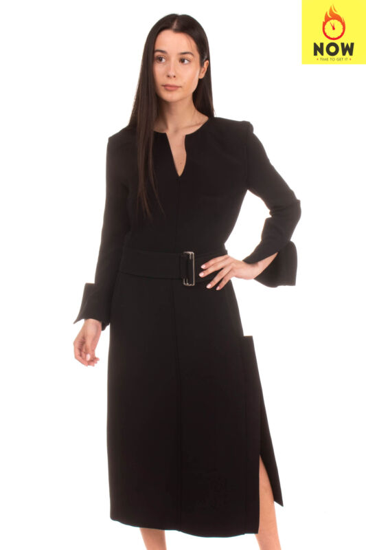 RRP €2045 VICTORIA BECKHAM Midi A-Line Dress Size UK 10 M Belted Made in France