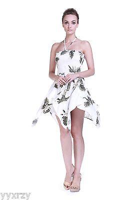 White Luau Dress (Tropical Hawaiian Luau Wedding Dress Cruise Pool Gypsy White Green Palm)