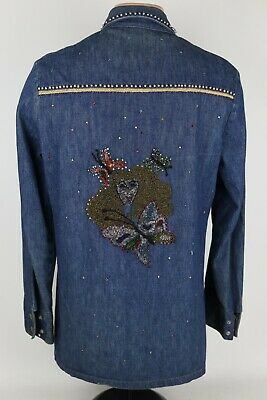 1970s Men's Shirt Styles – Vintage 70s Shirts for Guys Vintage 1970's Hand Embroidered Decorated Snap Button Denim Shirt Men's M Hippie $195.46 AT vintagedancer.com