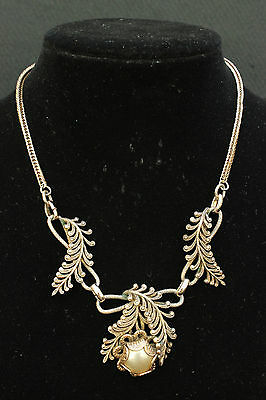 Vintage 1980s Gold Tone PEARL & MARCASITE Fern NECKLACE