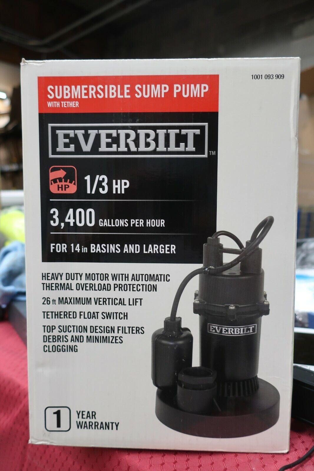 Everbilt SBA050BC Submersible Sump Pump 1/2 HP 3,800 Gallons