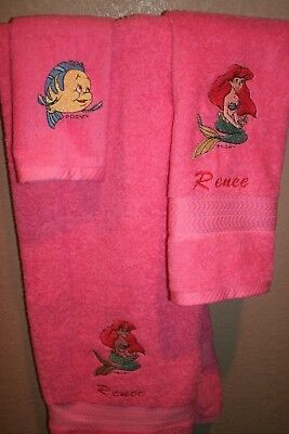 Little Mermaid Personalized 3 Piece Bath Towel Set Your Color Choice -