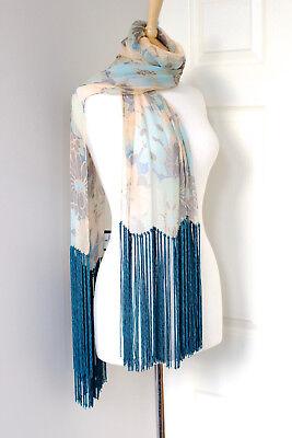 J. MENDEL teal blue brown sheer silk floral tassels fringe scarf stole shawl tie