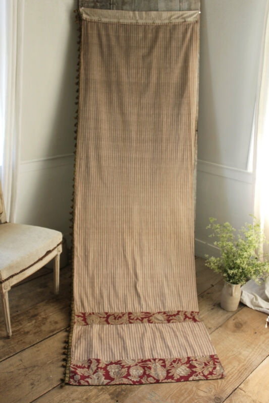 Antique French floral and striped bed curtain drape textile c1900