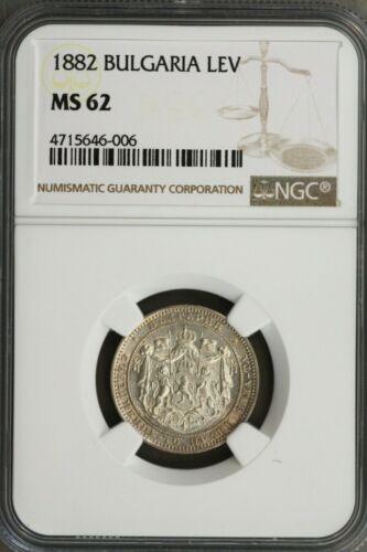 Bulgaria 1882 Lev NGC MS62 Tough in MS