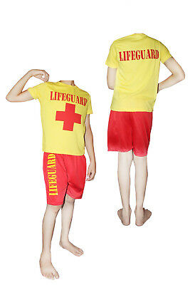 CHILDRENS FANCY DRESS LIFE GUARD PARTY SHORTS & T-SHIRT SET KIDS COSTUME OUTFIT - Lifeguard Outfit Halloween