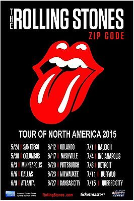 ROLLING STONES ZIP CODE TOUR OF N. AMERICA 2015 CONCERT POSTER -Tongue Dates - $12.99