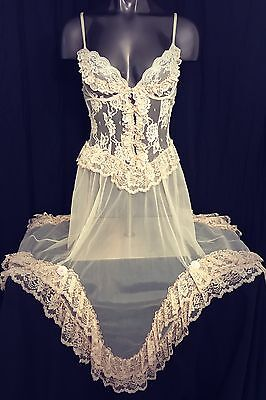 Vtg lingerie corset dress bustier gown steampunk lace champagne sheer nylon M