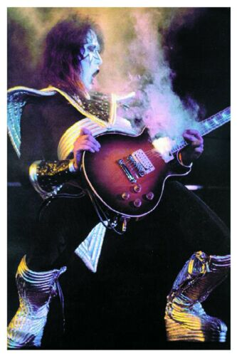 KISS ACE FREHLEY 1976 SMOKIN LES PAUL ! CUSTOM 24x36 QUALITY POSTER MINT !LT ED!