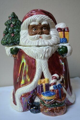 African American Santa---Santa Cookie Jar With Gifts