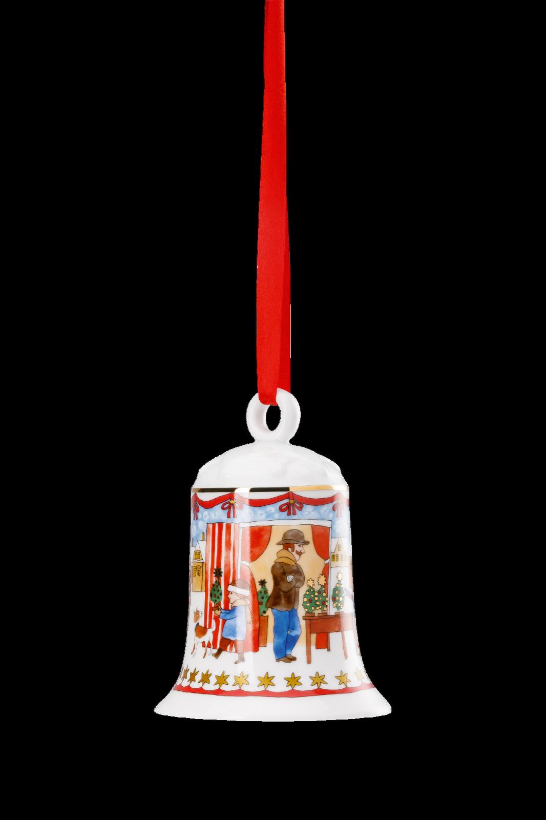 Hutschenreuther Porzellanglocke - Weihnachtsglocke 2019 - Motiv Weihnachtsmarkt