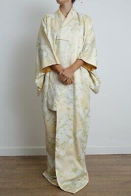 Authentic traditional vintage Japanese rinzu silk komon kimono