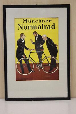 seltenes Werbeplakat Münchner Normalrad Nachdruck im Rahmen