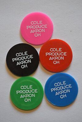 Food Stamp Tokens Set (5) COLE PRODUCE, AKRON, OHIO