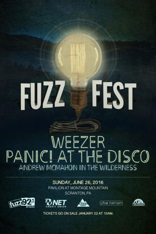 WEEZER / PANIC! AT THE DISCO / ANDREW MCMAHON 2016 FUZZFEST CONCERT TOUR POSTER