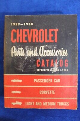 1929-1958 Chevrolet Parts and Accessories Catalog Book Auto Truck Bowtie