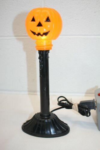 "Vintage Halloween Blow Mold Pumpkin Jack-O-Lantern Drip Candle Stick Light 11.5"""