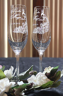 Peacock Feather Personalized Wedding Toasting (Peacock Wedding Glasses)