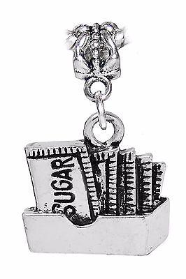 Sugar Packets Coffee Shop Restaurant Baking Dangle Charm for European Bracelets (Metal Sugar Packet)