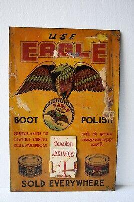 Vintage Eagle Boot Polish Advertising Tin Sign Calendar Depicting Flying Eagle#3